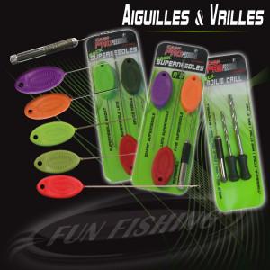 FUN FISHING Pack Superneedles N°1 - 4 Models (Rouge. Verte Fluo. Kaki et Vrille) - Vert - Rouge - kaki 1