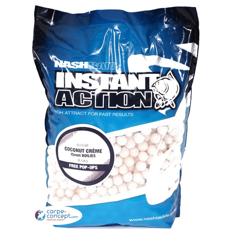 NASH Bouillettes Instant Action 15mm 2,5kg Coconut Cream