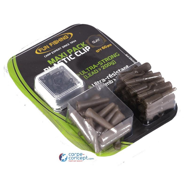 FUN FISHING Maxi pack plastic clip x20 clay