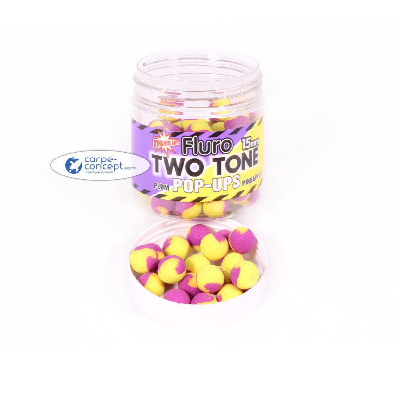 DYNAMTE BAITS Fluro 2 Tone pop-up Plum & Pineapple 15mm
